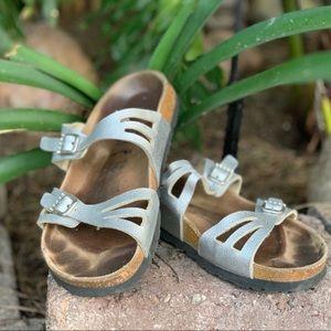 Silver Birkenstock Sandals Rhinestone Buckles*39